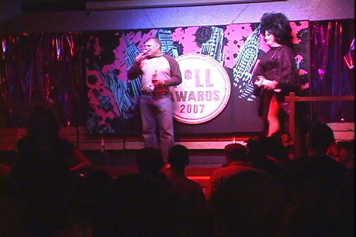 Wolfgang Busch receives the 2007 Pill Award for Best Documentary for 'How Do I Look' at the NYC night club Splash; with him on stage is the host Peaches Christ.