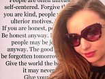 Miranda Kerr posts glamorous selfie... after quoting Mother Teresa on forgiving people who are 'un-reasonable and self-centered'