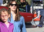 Aren't you supposed to be a superhero? Ben Affleck enlists gas station attendant after failing to fill his own tank while Jennifer Garner has girls day out with daughter Violet