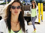 Shine like the sun: Alessandra Ambrosio donned neon yellow pieces to pamper herself at a nail salon in Brentwood, California on Saturday