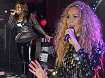 Leona Lewis channels 70s disco vibe in glittering minidress as she and Hannah Barrett perform at G-A-Y