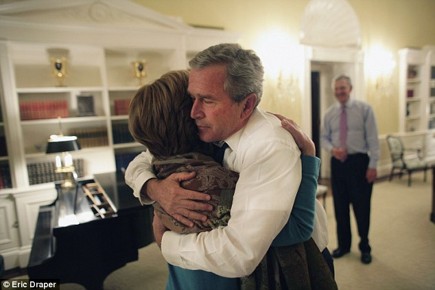 Hug of relief: Mr and Mrs Bush embrace as he's re-elected president on election night, November 3, 2004