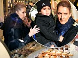 Sweet tooth! Celine Dion can't resist the lure of a delectable patisserie as she takes a stroll with her twins in Paris