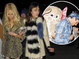 Wild things! Poppy Delevingne wears leopard print coat as she leaves hen party with Alexa Chung... while Harry Styles dons elephant mask