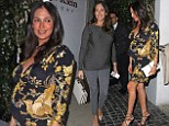 Pregnant Lauren Silverman swaps plain jumper for Oriental-inspired patterned dress for dinner with Simon Cowell