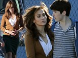 Jennifer Lopez steps out in green pencil skirt and brown cardigan as she films movie The Boy Next Door with male costars