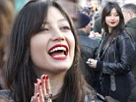 Festive frolics: Daisy Lowe does rock-chick glamour in leather jacket at Primrose Hill Christmas Market