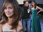 A little help from her friend: Sexily dressed J-Lo gets a visit from best mate Leah Remini on the set of her new film
