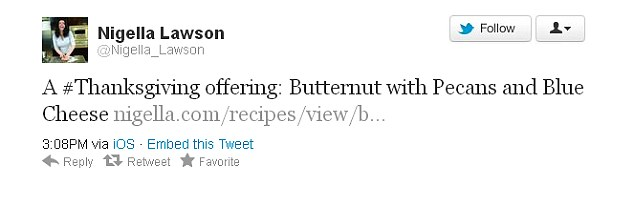 Thanks to supporters: As Saatchi was arriving at court today, Nigella tweeted a recipe on Twitter
