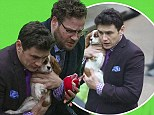 Distracted by the puppy! James Franco cuddled an adorable dog as he and Seth Rogen filmed The Interview in Vancouver, Canada on Saturday
