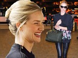 Hell bent for leather! Rosie Huntington-Whiteley dons racy trousers as she gets ready to jet out of Los Angeles
