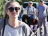 Double the fun! Rebecca Gayheart pushes her little angels around in style on family stroll to the shopping mall