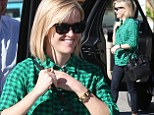 Plaid to the bone! Reese Witherspoon goes green with her everyday wear while heading out for a little upscale snack at the Ivy