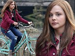 Chloe Moretz rides bike on set of If I Stay in Vancouver