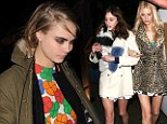 Alexa Chung, Cara Delevingne and her sister Poppy just managed to look strange, scruffy and a little bit chilly on Saturday night, as they exposed their pencil-thin legs to the winter winds