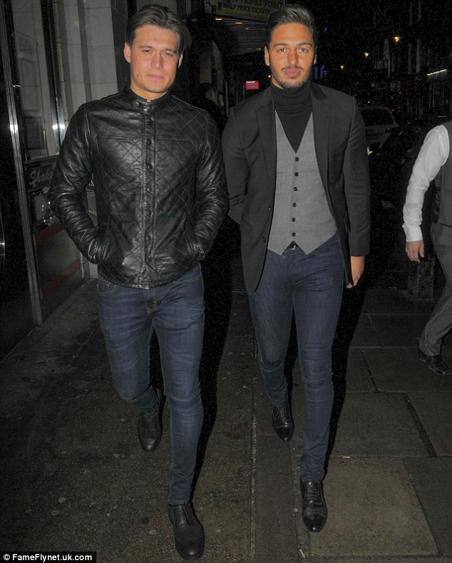 Uncle Mario: Tom thinks Giovanna's brother, TOWIE star Mario Falcone (R), will spoil the couple's baby rotten