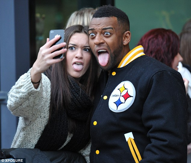 Funny faces: Oritshe pulls a comedic expression outside BBC Breakfast studios on Friday morning