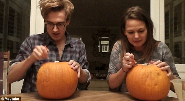 Spook-tacular! Childhood sweethearts Tom and Giovanna announced they were expecting their first child via an adorable video montage of them carving pumpkins together late last month