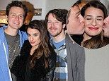 Singing stars: Jonathan Groff, left, Lea Michele and John Gallagher Jr. posed backstage on Monday at a Spring Awakening reunion for the hit Broadway play