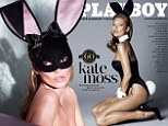 Fifty Shades Of Playboy: Kate Moss wears bunny ears AND a mask as she poses topless for magazine's 60th anniversary cover