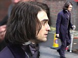 British actor Daniel Radcliffe pictured during a break in filming on the set of Frankenstein being filmed in the UK
