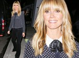 Wearing her heart on her shirt! Heidi Klum updates season's hottest trend by adding a cute and quirky leather bowtie