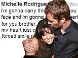 'I'm gonna carry this torch for you brother' Devastated Michelle Rodriguez is latest Fast And Furious star to pay tribute to co-star and close friend Paul Walker
