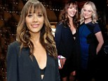 Racy Rashida Jones exposes her black bra in plunging frock as she joins demure in blue Amy Poehler at awards gala