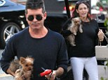 SIMON COWELL AND LAUREN SILVERMAN TAKE HIS AND HERS YORKY PUPPIES TO DINNER AT