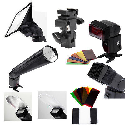6 in 1 Flash Accessories Kit Softbox/Combo/snoot/Reflector/Filters/Holder US