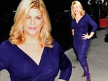 'I'm a little uber blonde': Kirstie Alley, 62, rocks it with gorgeous locks and clingy purple dress to promote new show
