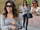 Like night and day! Eva Longoria breezes out of favourite hair salon looking stunning with a new hair style and a pair of sexy leather pants