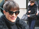 There's no place like home! Lea Michele channels Audrey Hepburn as she happily embraces old friends in hometown of NYC