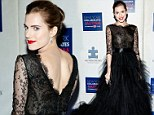 The black swan! Girls star Allison Williams breathes elegance in floaty lace and chiffon gown to attend Winter Ball For Autism event