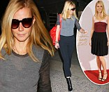Jetsetting style: Gwyneth Paltrow dressed down as she arrived at Los Angeles International Airport on Tuesday, left, after glamming it up for the British Fashion Awards on Monday, right