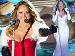 On the naughty list! Mariah Carey slips into plunging red and white dresses to sing at Rockefeller Center Christmas tree lighting