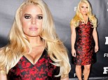 Blooming beautiful! Jessica Simpson displays her slimmer waist in a cleavage-baring red floral frock at fashion awards