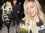 Simp-ly cool and coordinated! Ashlee Simpson brightens up band T-shirt with vibrant patterned jacket for dinner with boyfriend Evan Ross