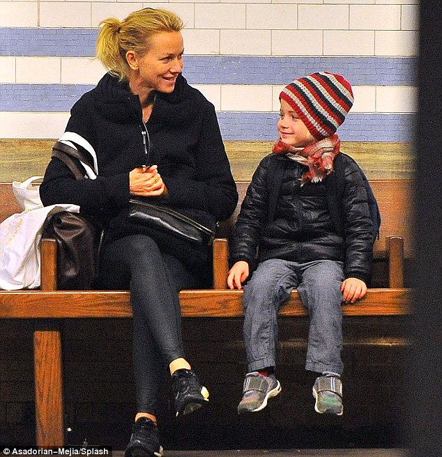 Journey with the masses: Naomi Watts caught the subway with her son earlier this month