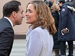 Practice makes perfect! Rose Byrne and Bobby Cannavale warm up with kiss on set of Annie... then do it again for the cameras