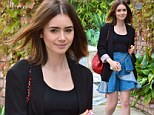 Strutting her stuff: Lily Collins, 24-year-old daughter of Phil Collins, seen trekking through West Hollywood to meet a gal pal for lunch on Monday