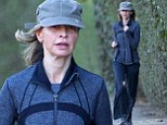 Calista Flockhart cuts a frail figure as she pounds the pavement on yet another early morning jog