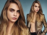 Cara Delevingne shows some skin in plunging shirt and luxe gold jacket for second Vogue cover shoot of the year