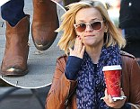 Southern pride: Reese Witherspoon donned a pair of cowboy ankle boots to pick up a Starbucks drink in Santa Monica, California on Wednesday
