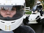 Miley Cyrus rides customised three-wheeled Can-Am Spyder she was given for 21st birthday