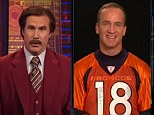 Meeting of the minds: Will Ferrell disguised as fake anchorman Ron Burgundy interviewed Denver Broncos Quarterback Peyton Manning on ESPN's SportCenter