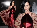 Katy Perry is regal in red velvet gown and embellished cape at UNICEF Snowflake Ball after being named Goodwill Ambassador