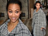 Newlywed life clearly suits her! Zoe Saldana looks gorgeous in grey knit dress and tweed coat after confirming marriage to Marco Perego