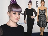 Kelly Osbourne livens up her black gown with purple top knot as she joins lovely in lace Maria Menounos at Make-A-Wish gala