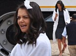 Someone Give-her a mirror! Katie Holmes wanders around in white robe and paper roller looking far from camera ready on set of The Giver